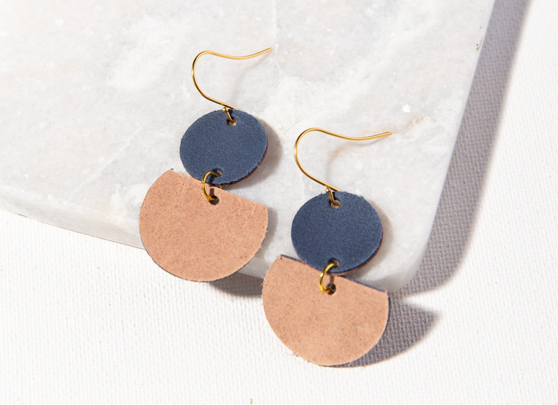 Ink + Alloy Leather Earring - Half Circles Indigo and Blush