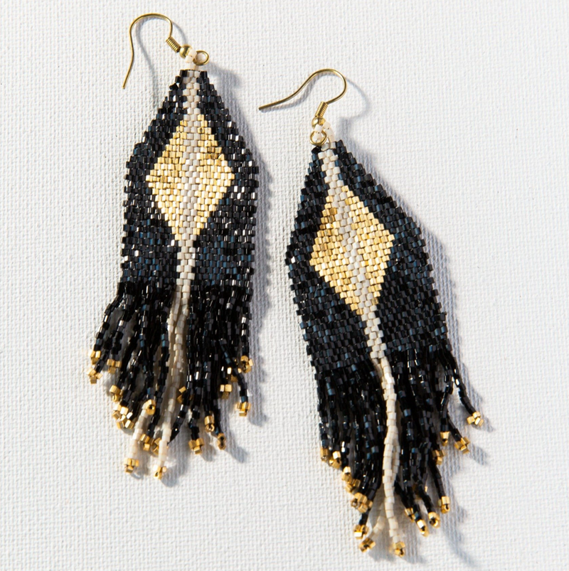 Ink + Alloy Luxe Diamond w/Fringe Earring - Black & Gold