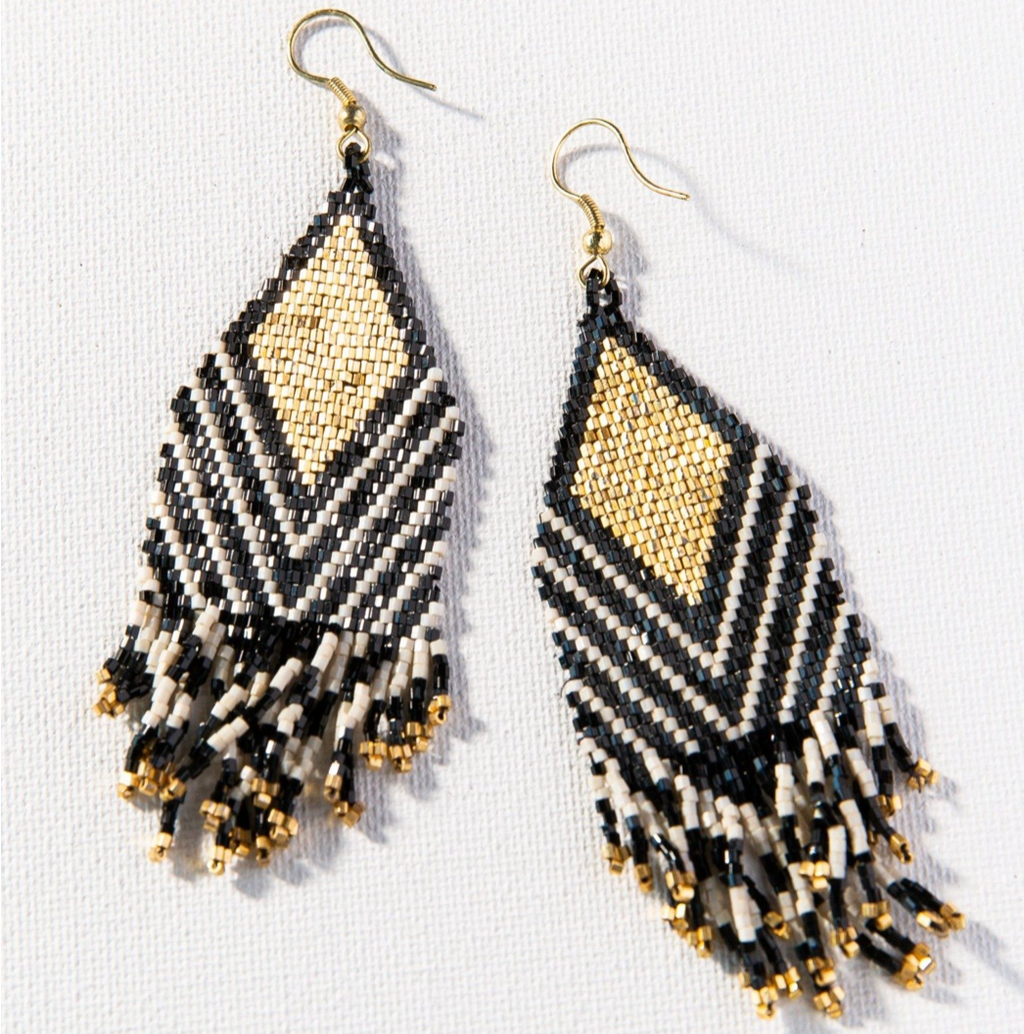 Ink + Alloy Luxe Earring - Ivory Black Lapis Stripe Diamond
