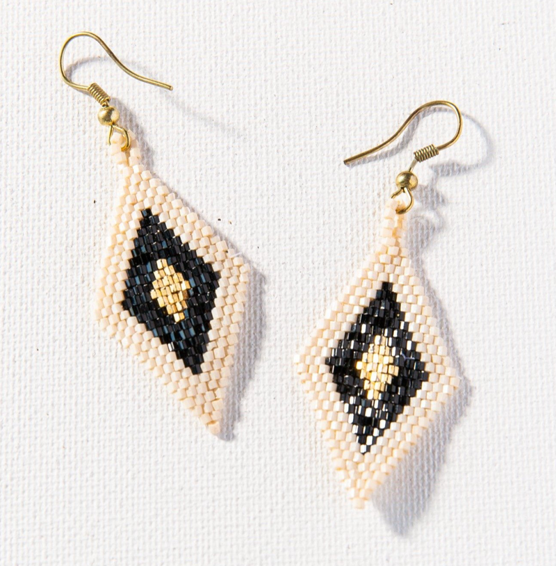 Ink + Alloy Luxe Earring - Lapis Black Ivory Small Diamond