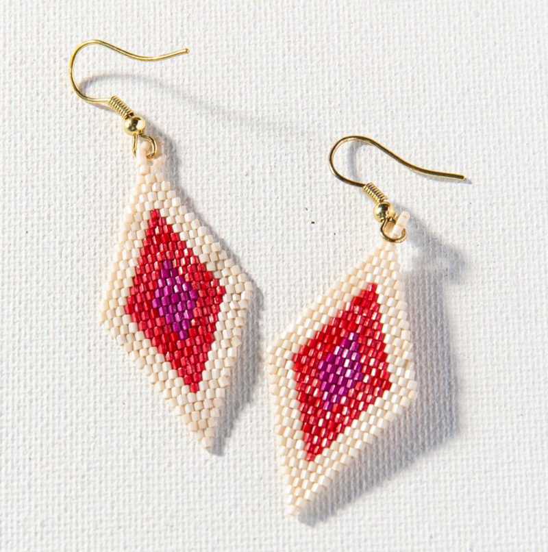 Ink + Alloy Luxe Earring - Magenta Scarlet Ivory Small Diamond