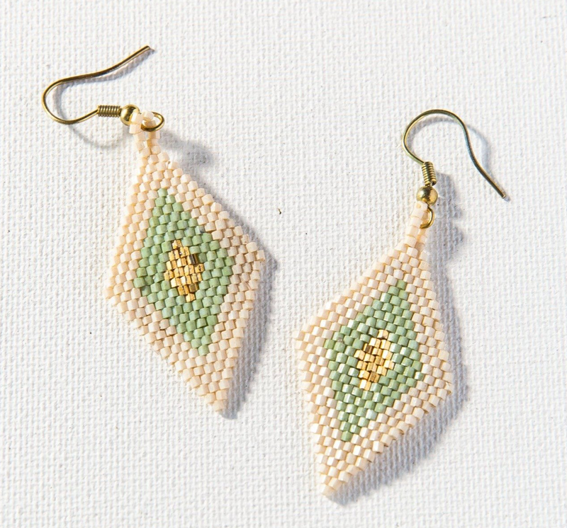 Ink + Alloy Luxe Earring - Mint Gold Ivory Small Diamond