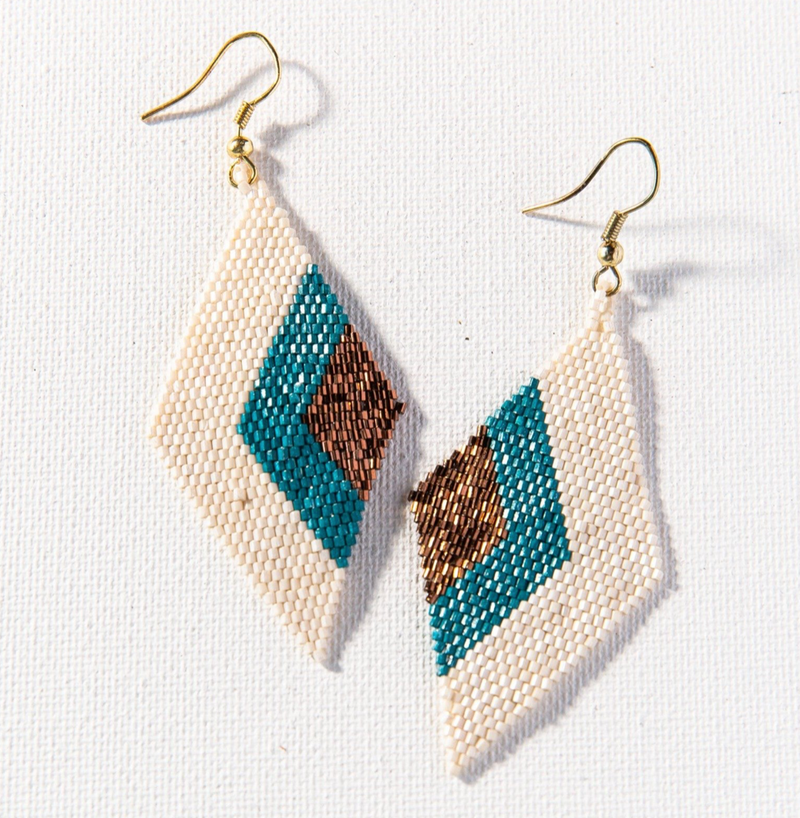 Ink + Alloy Luxe Earring - Peacock with Bronze Diamond