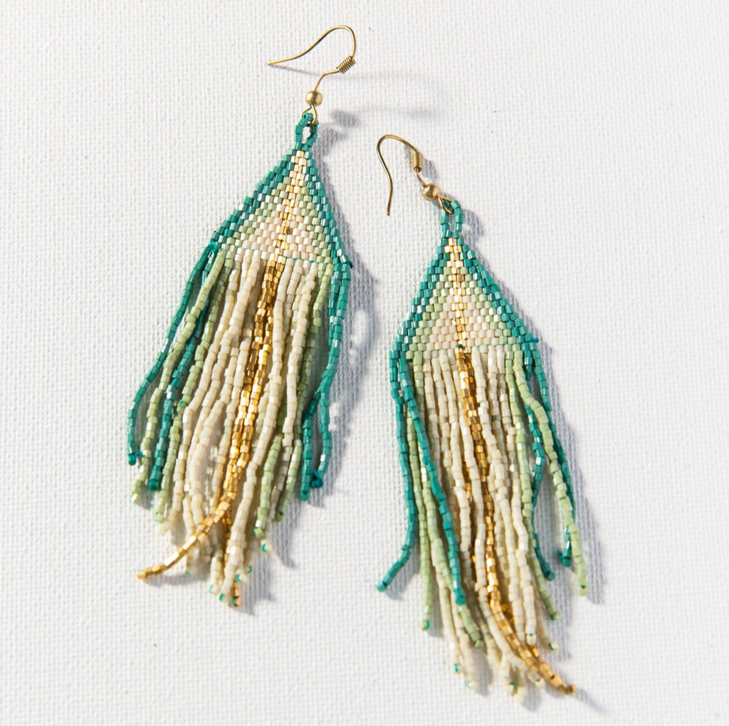 Ink + Alloy Luxe Ombre w/Fringe Earring - Ivory Teal & Gold