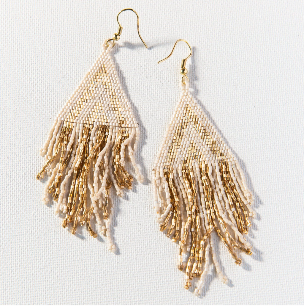 Ink + Alloy Luxe Stripe w/Fringe Earring - Gold & Ivory