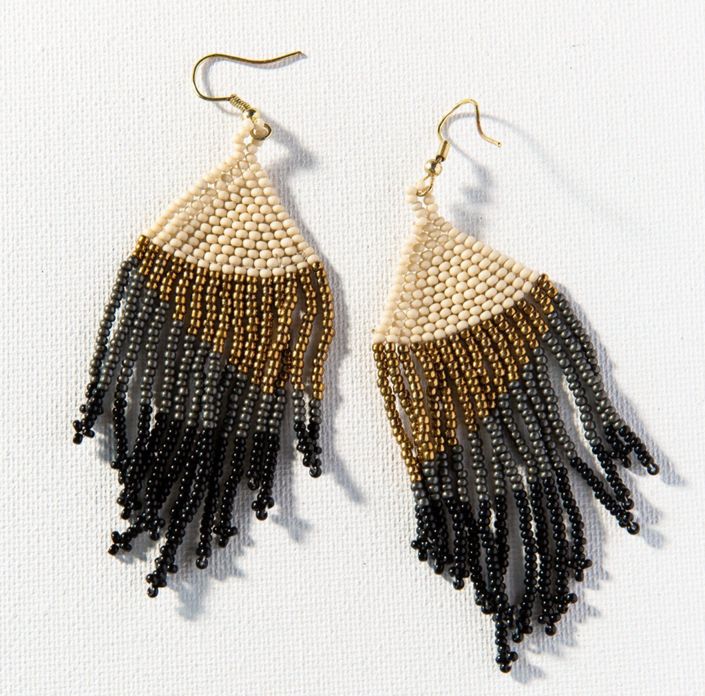 Ink + Alloy Seed Bead Earring - Black Ombre w/Gold Fringe