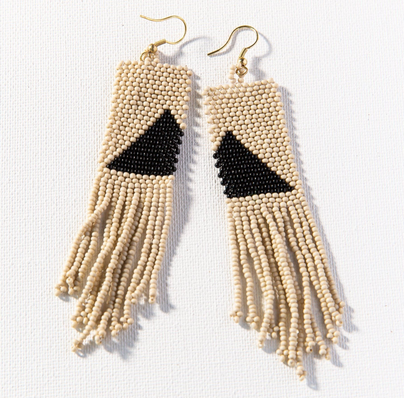 Ink + Alloy Seed Bead Earring - Black Gold Ivory Fringe on Triangle