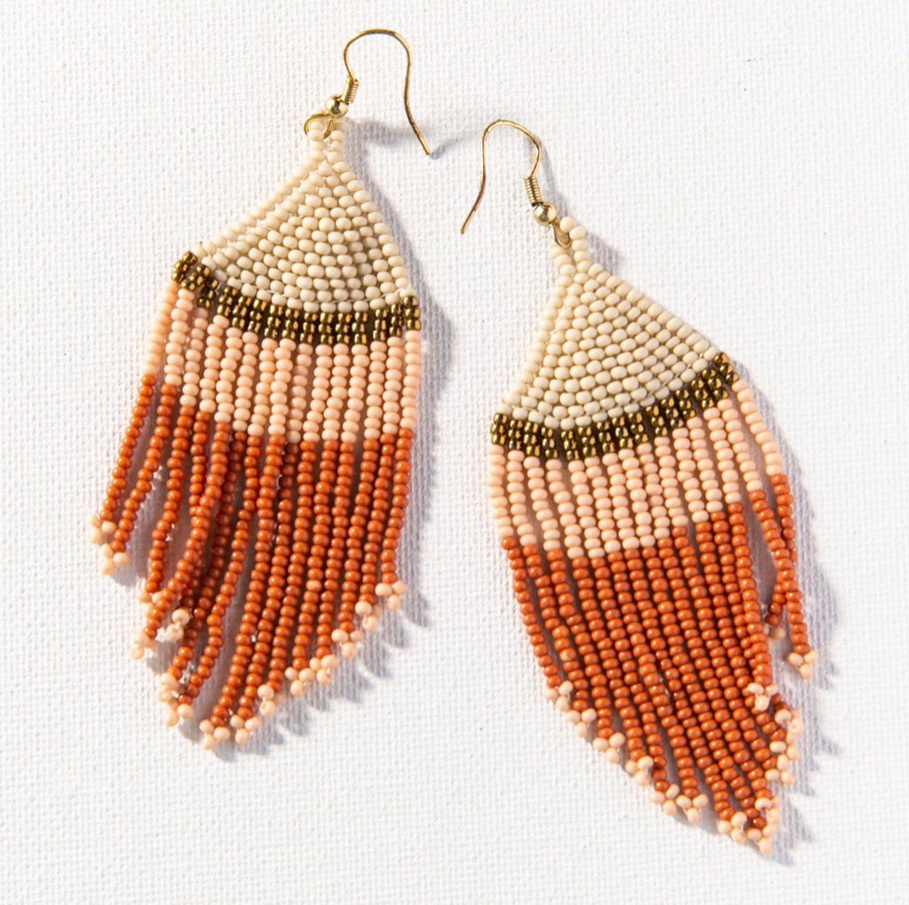 Ink + Alloy Seed Bead Earring - Ivory Gold Pink Rust Stripe fringe