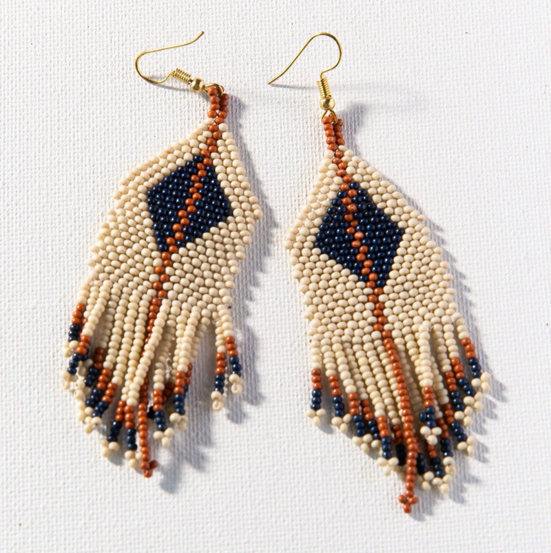 Ink + Alloy Seed Bead Earring - Ivory Navy Rust Diamond w/ Stripe fringe