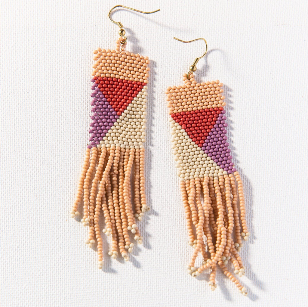 Ink + Alloy Seed Bead Earring - Pink Ivory Lilac Terra Geo