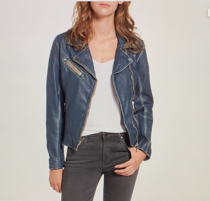 Distressed washed leather jacket - Denim Blue