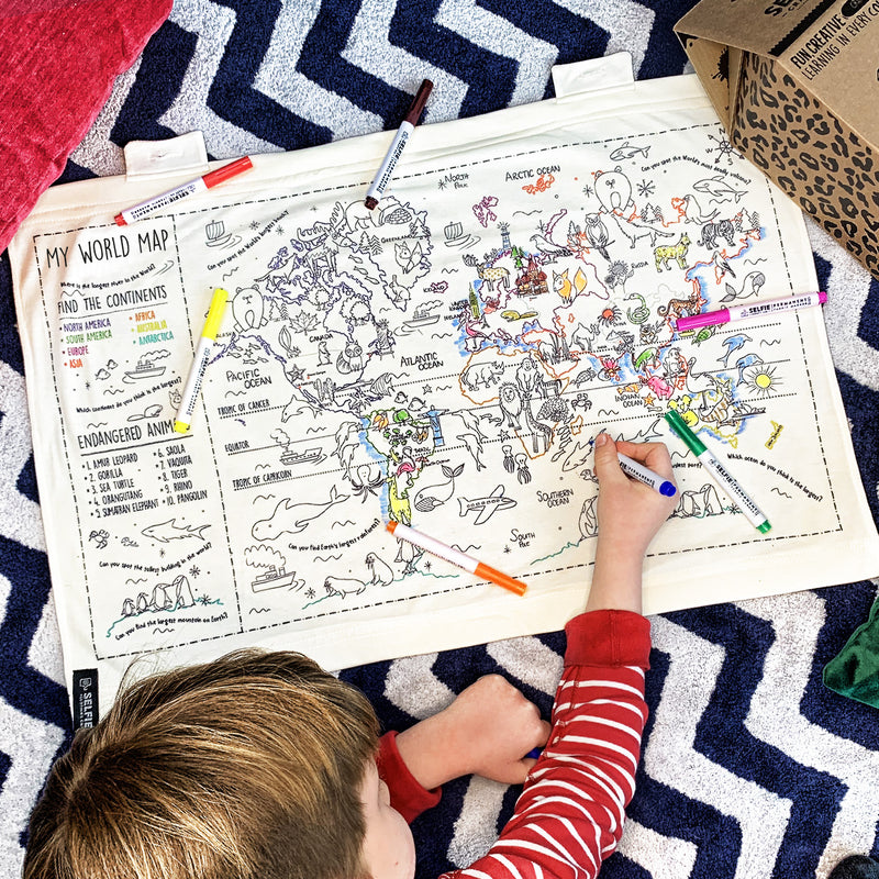 Colour Your Own World Map Fabric Wall Art
