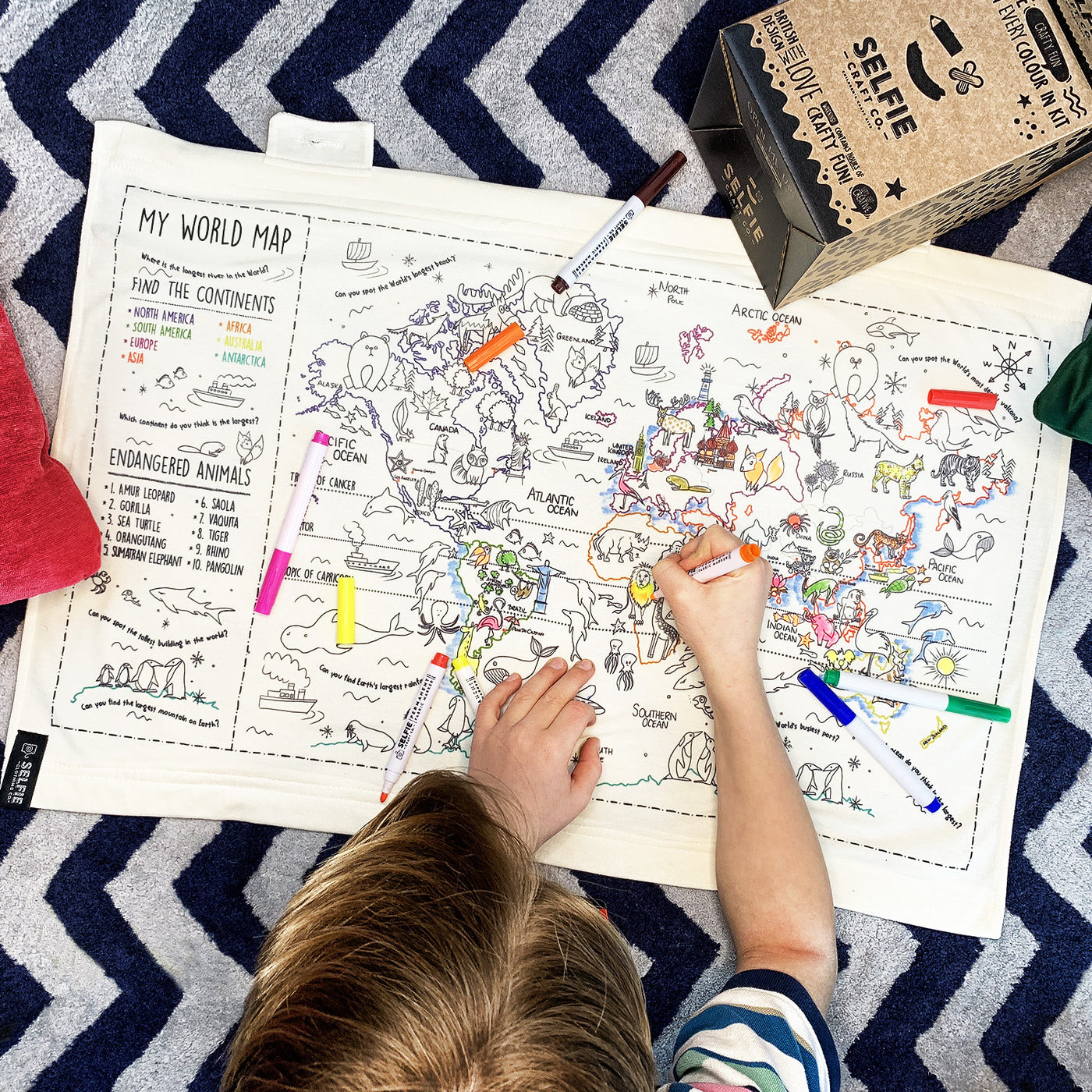 Colour Your Own World Map Fabric Wall Art Presence Of Piermont