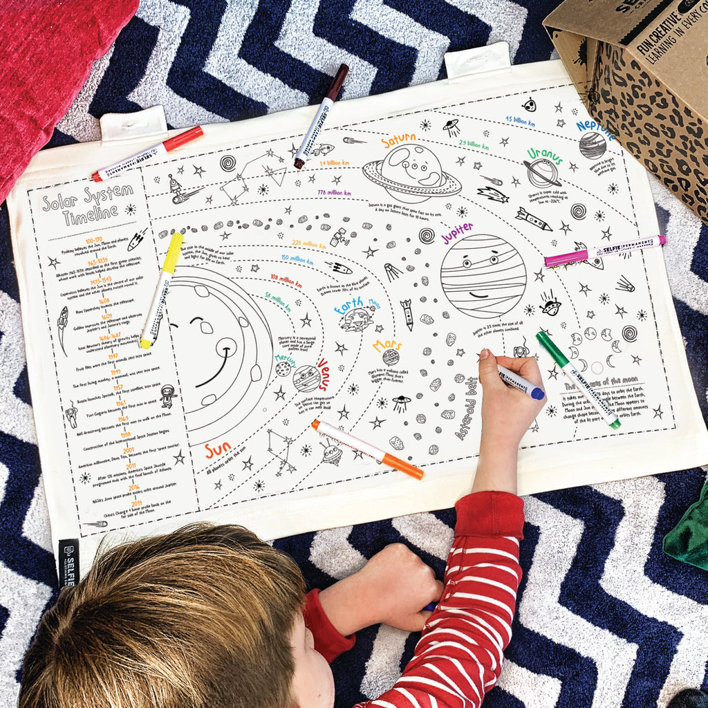Colour Your Own Solar System Fabric Wall Art