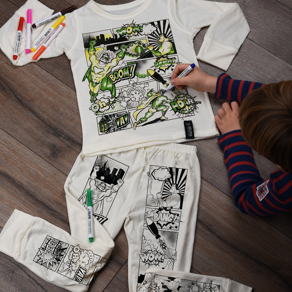 Color Your Own Pajamas - Super Hero Comic