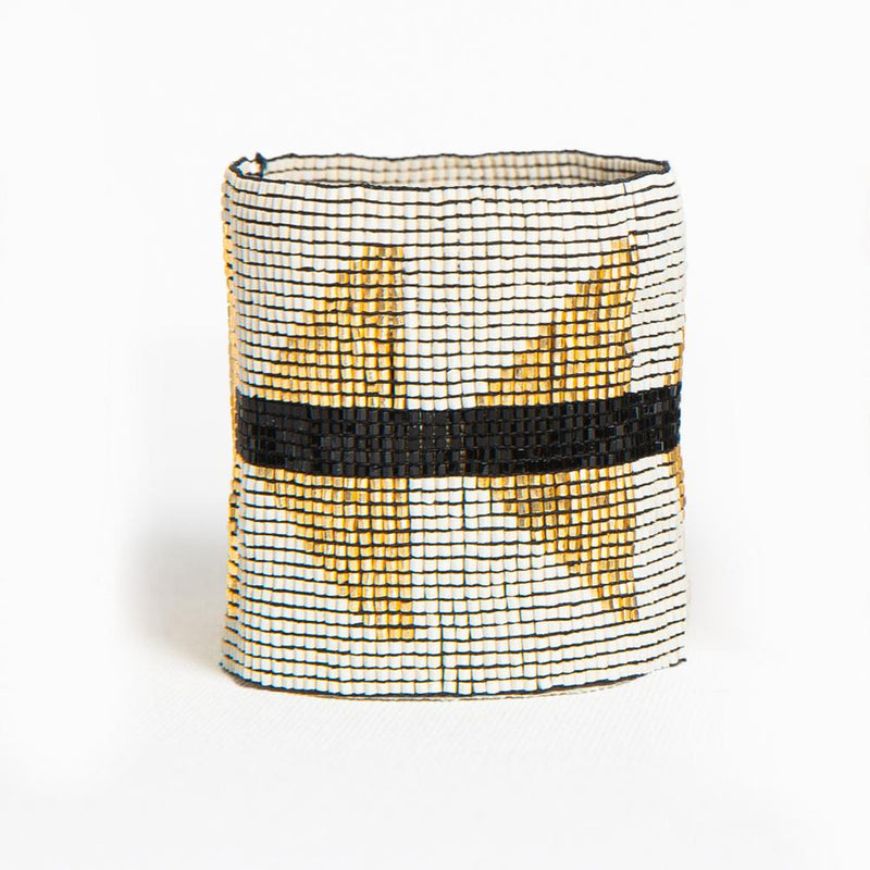Ink + Alloy Luxe Stretch Bracelet - Ivory With Gold