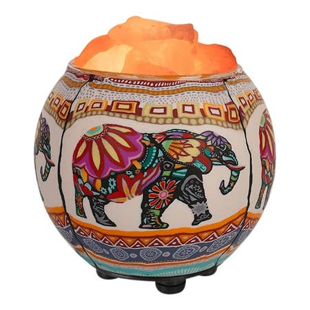 Himalayan Salt Lamp Essential Oil Diffuser - Ethnic Elephant