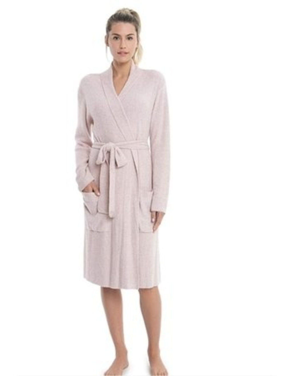 Barefoot Dreams Ribbed Robe - Faded Rose Pearl