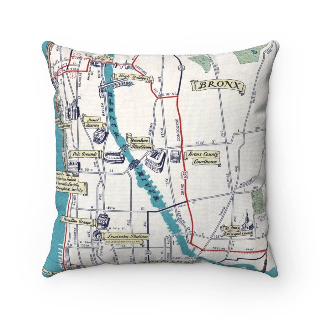 Map Pillow - Yankee Stadium Bronx New York Map Pillow