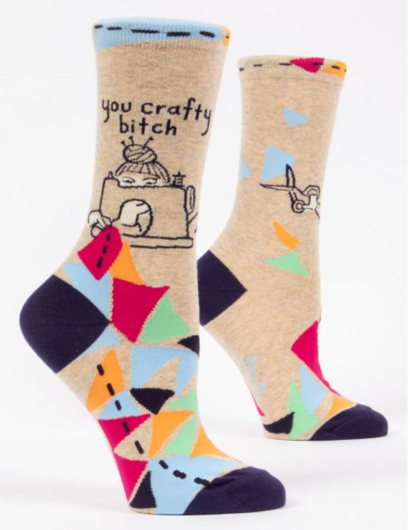 Blue Q women's Crew Socks You Crafty Bitch