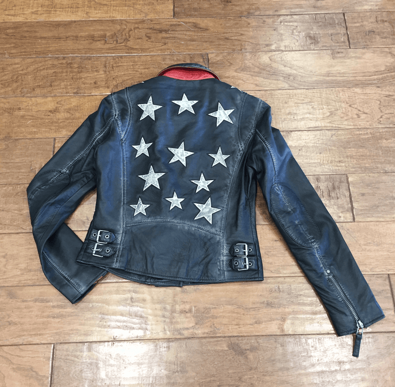 Christy Leather Star Jacket - Vintage Black
