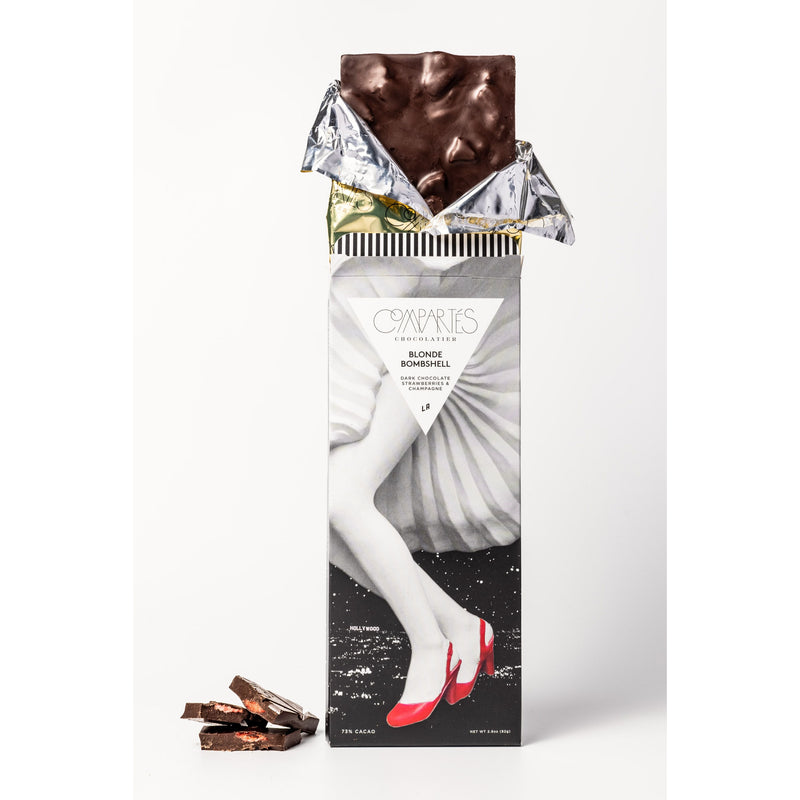 Compartes Chocolate - Blonde Bombshell Strawberry Champagne Chocolate Bar