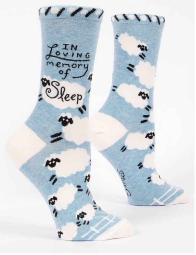Blue Q women's Crew Socks In Loving Memory of Sleep
