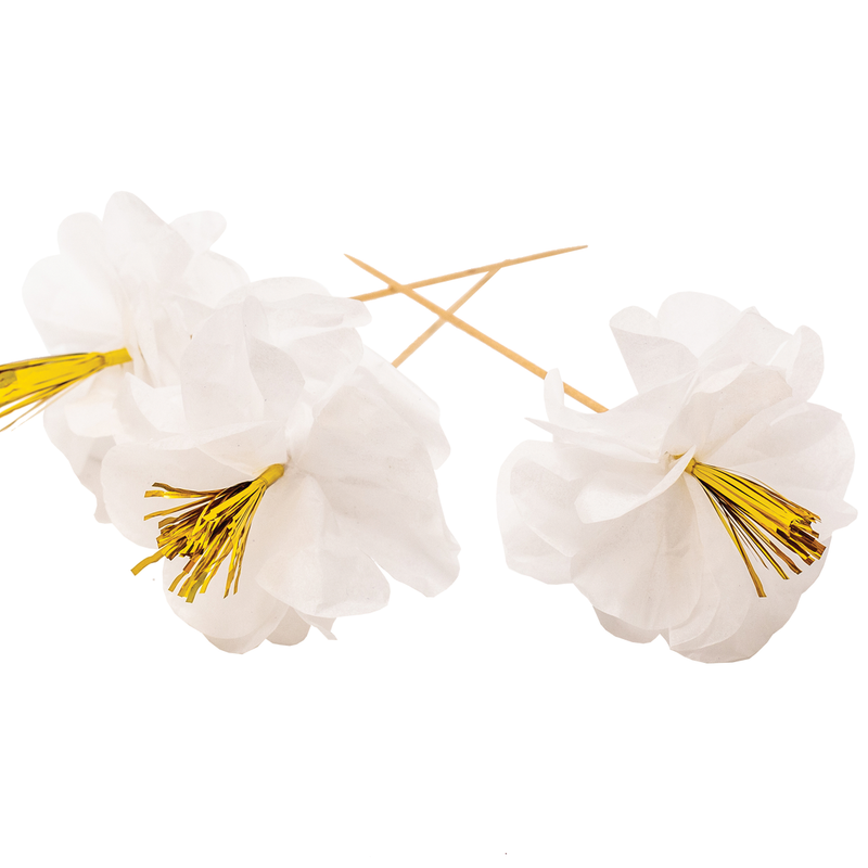 Party Partners - White Tissue Blossoms Party Picks
