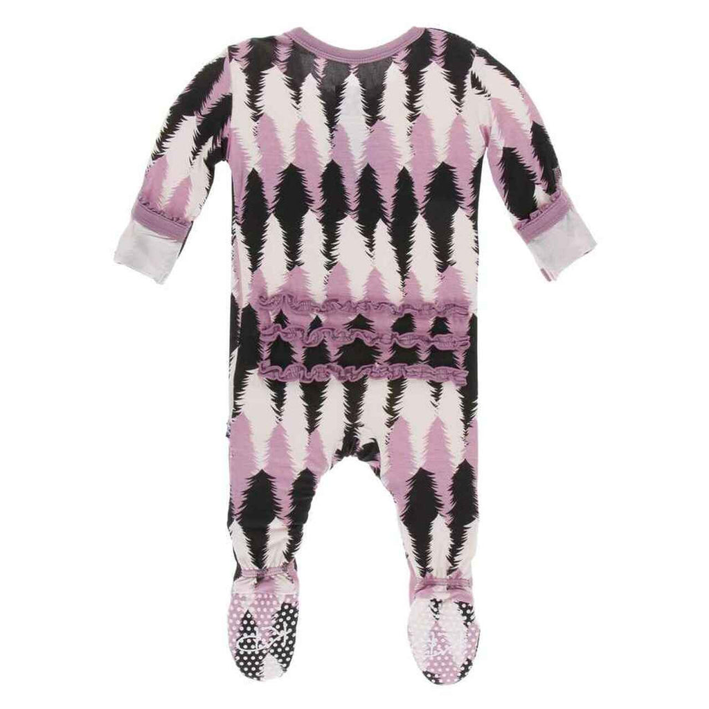 Kickee Pants Muffin Ruffle Zippered Footie - Midnight Forestry