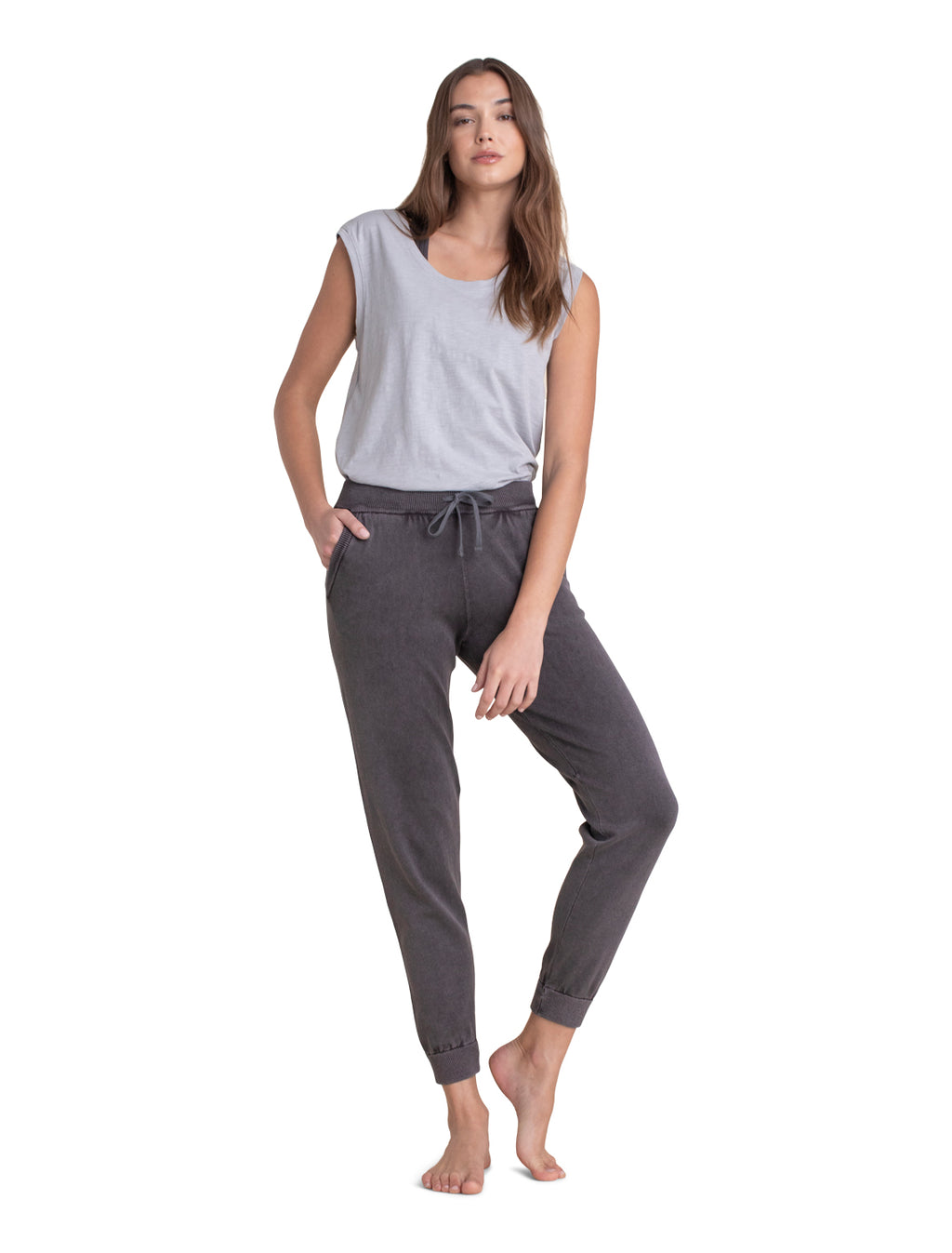 Barefoot Dreams Cotton Jogger - Faded Black