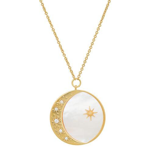 Mother of Pearl Moon Pendant Necklace