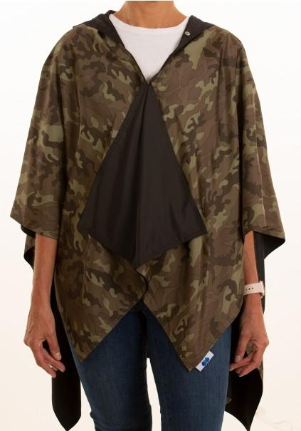 Hooded Black  Rainrap - Camoflauge
