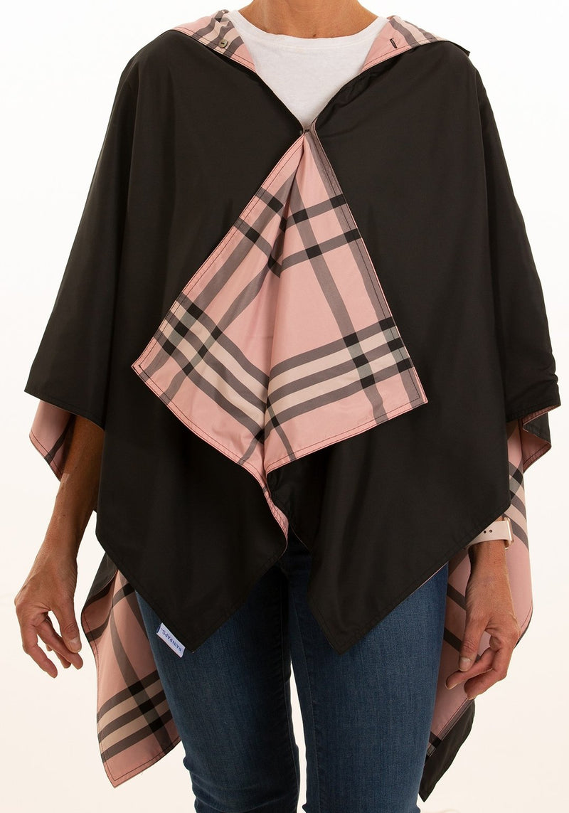 Hooded Rainrap - Black & Pink Plaid