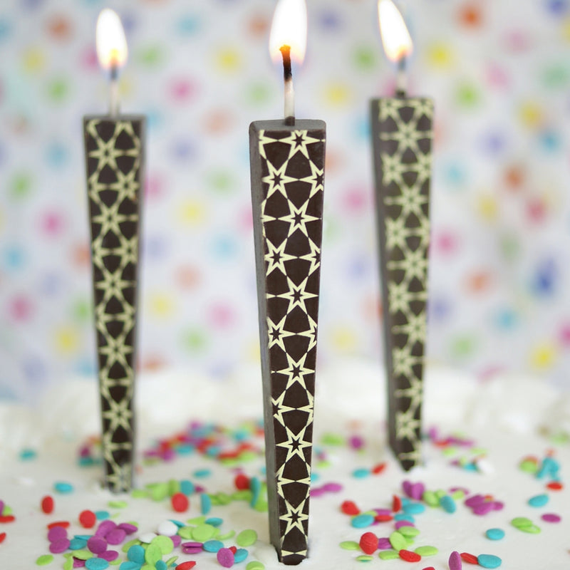 Edible Chocolate Candle - Stars (dark)