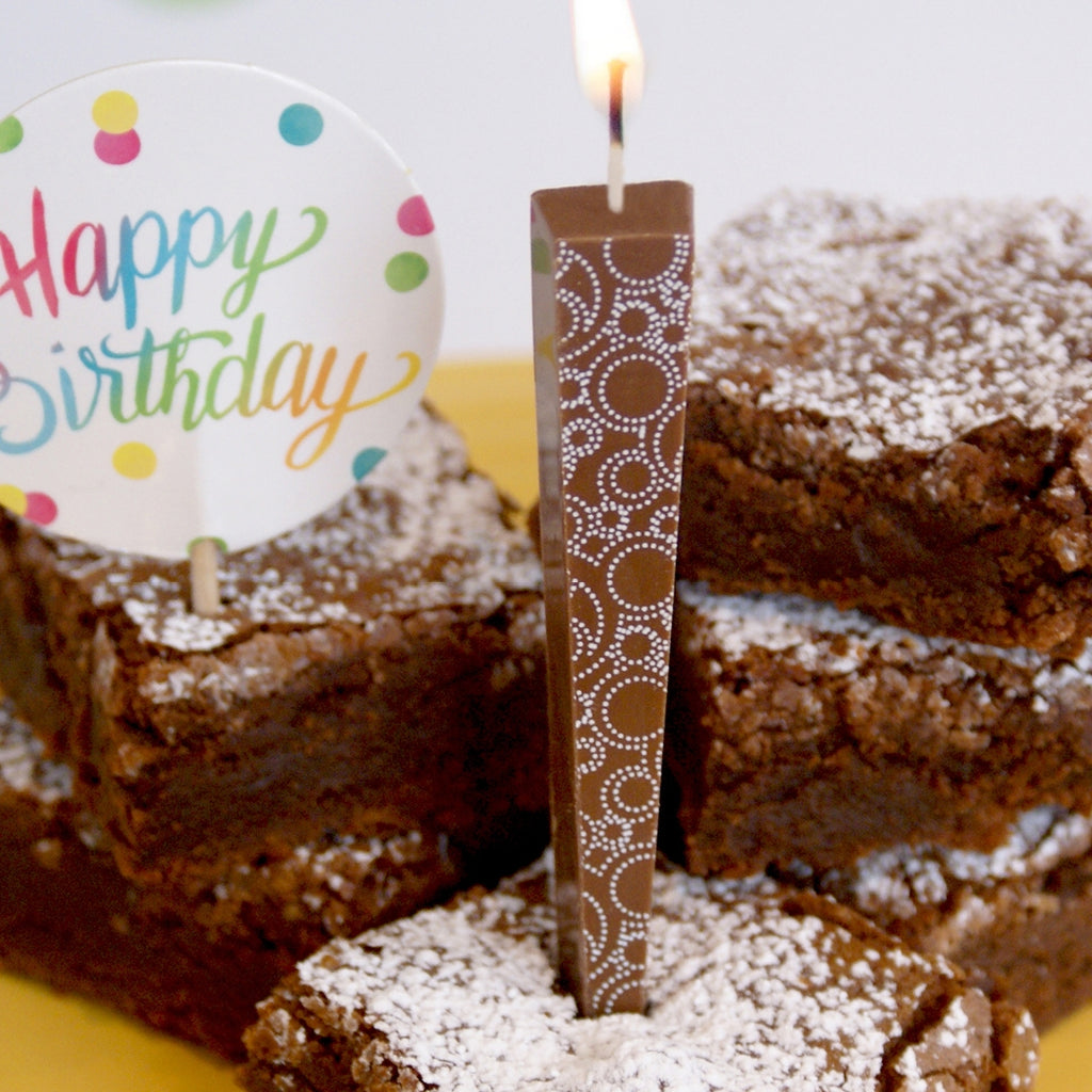 Edible Chocolate Candle - Circle Swirls (Milk)