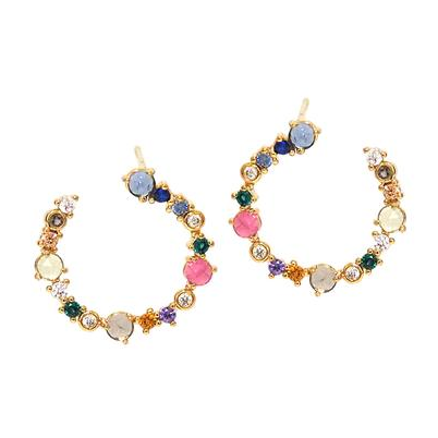 Tai Princess Front Hoop Earrings - Multi