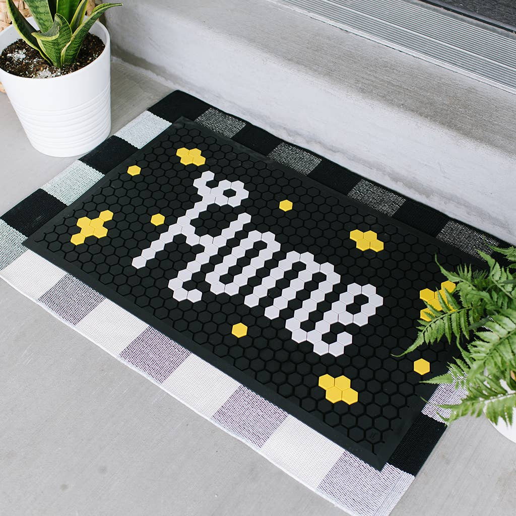 Customizable DIY Rubber Tile Mat - Black