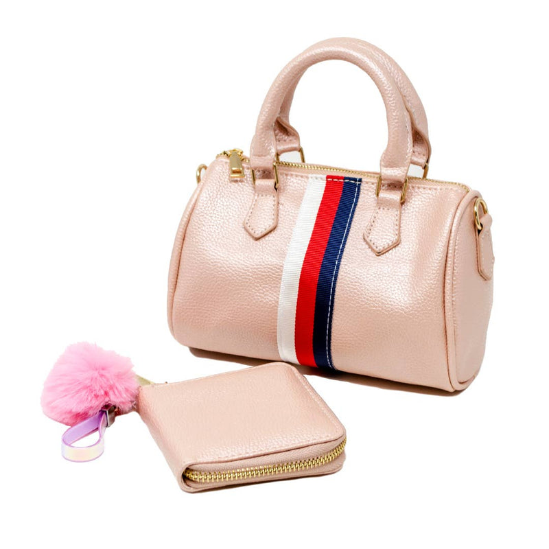 Mini Striped Duffle Handbag with Wallet