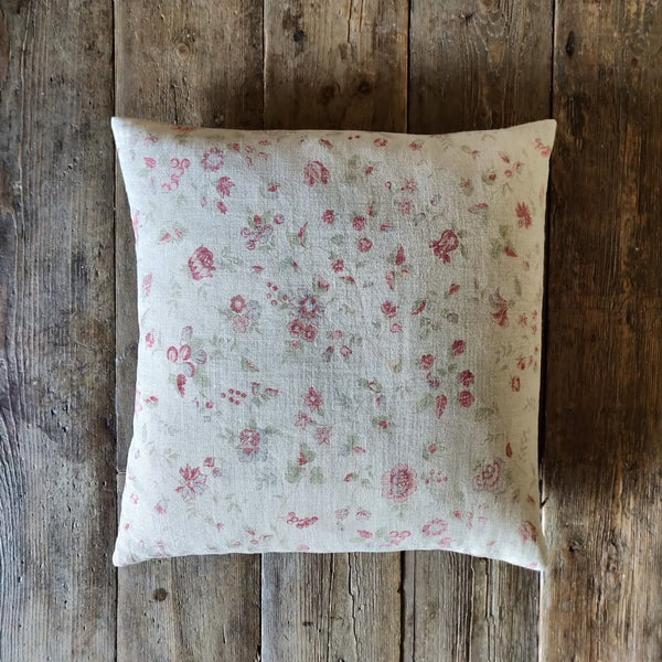 Linen Scatter Cushion/ Framboise Natural Double Aged