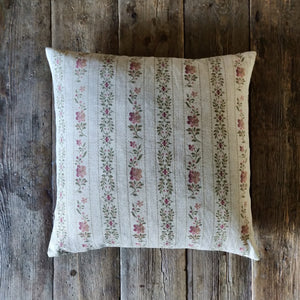 45cm Linen Cushion / Beauclerc Stripe Wide Natural Rose