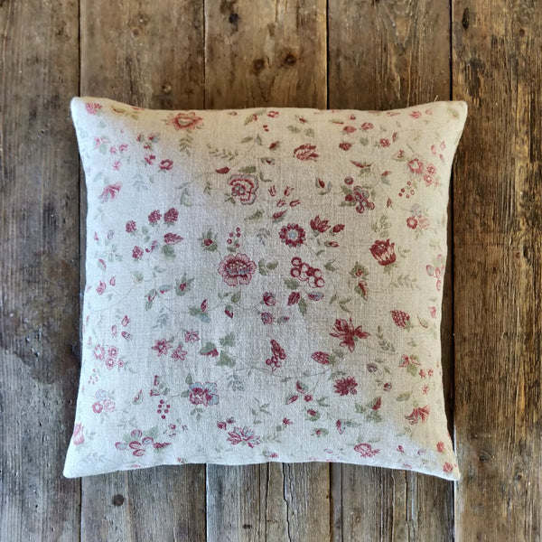 Linen Scatter Cushion/ Framboise on Natural