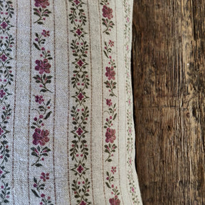 45cm Square Linen Cushion/ Beauclerc Narrow Natural Rose