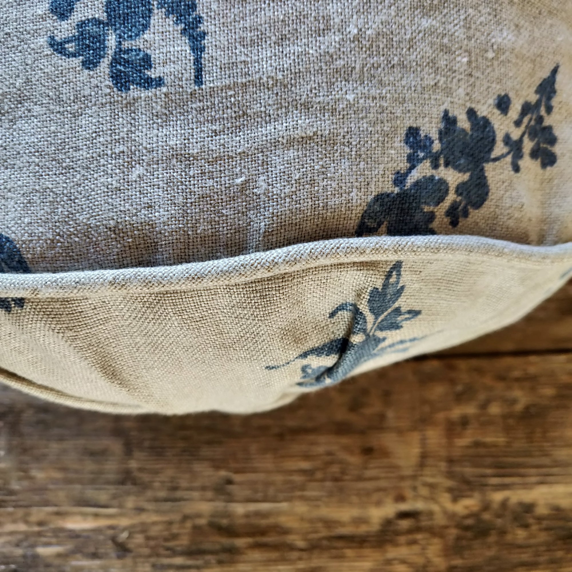 Piped Linen Bolster Cushion/ Trifolium Wreath Midnight on Natural