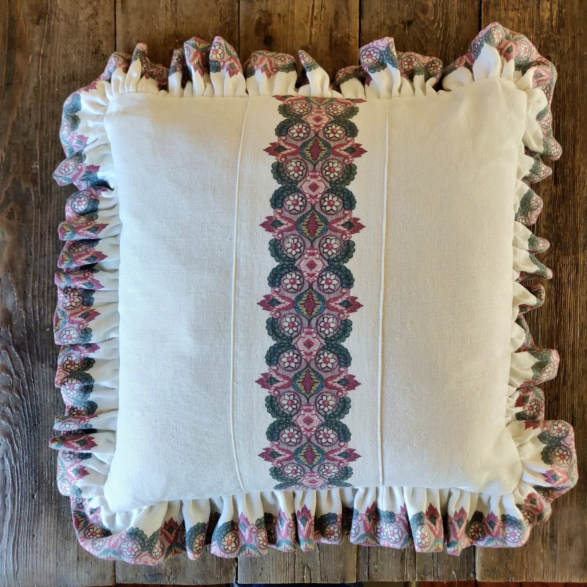 Balazuc Hero Frill Cushion/ Morocco Stripe Ivory