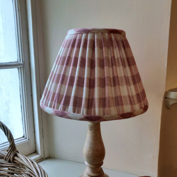 Gathered Linen Lampshade/ Vintage Check Raspberry