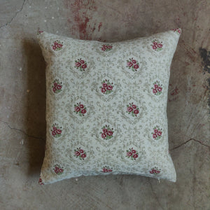 45cm Square Linen Cushion / Posy Ivory