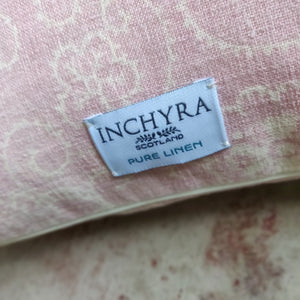 45cm Square Linen Cushion / Squirl Old Rose