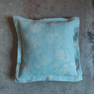 40cm Oxford Edge Linen Cushion / Squirl Duck Egg