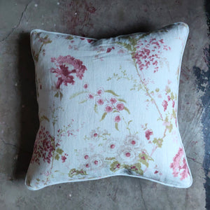 50cm Piped Linen Cushion / Dianthus Raspberry