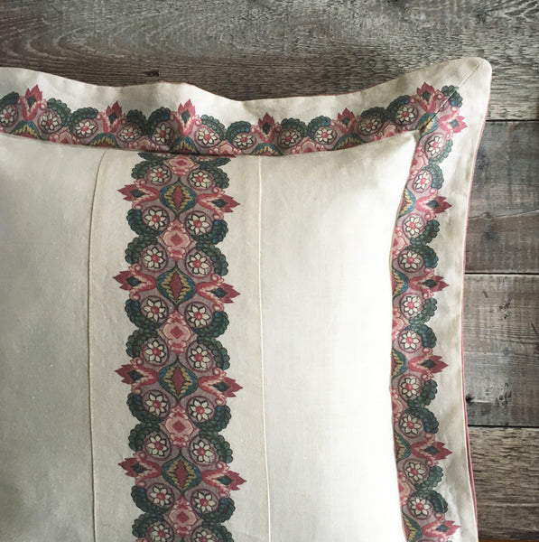 Balazuc Marchprint Border Cushion/ Morocco Stripe